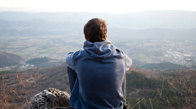 Young man looking at the view
